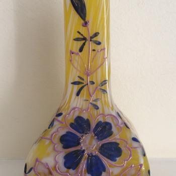 Welz yellow/white spatter enamel bud vase pink/blue