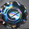 Hostess Carnival Glass Plate and Blue Opalescent Cornucopia Vase