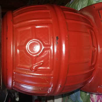Mccoy red pot belly stove cookie jar