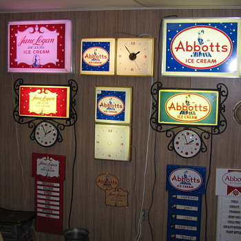 Abbotts Dairy , Abbott's Dairy & Jane Logan Clocks , Menu boards & Decals. Philadelphia.
