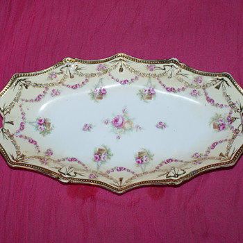 "Old Porcelain Tray - Unknown Maker NO MORE: ""Swag and Tassel"" mold by RS Prussia"