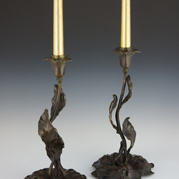 French Art Nouveau Floriform & Foliate Bronze Candlesticks