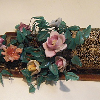OLD Sconces w/Pottery flowers and Glass leaves~Italian French? - Lamps
