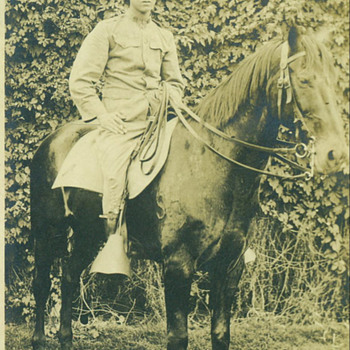 WWI U.S. Army Cavalry Trooper on Horseback RPPC - Military and Wartime