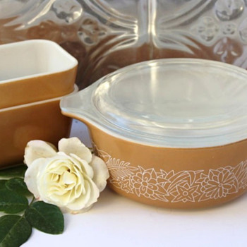 3 Pyrex Tan Woodland Dishes - Kitchen
