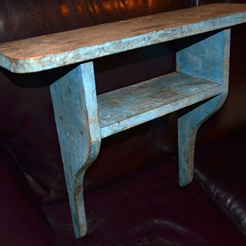 Old Primitive Wall Shelf in old blue paint - Furniture