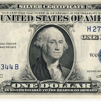 U.S. Silver Certificate -- $1, 1935