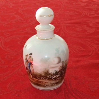 Perfume with handpainted 18th century tennis scene