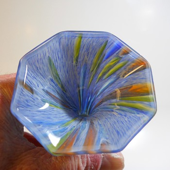Octagon Multicoloured spatter Vase, 20 Century - Art Glass