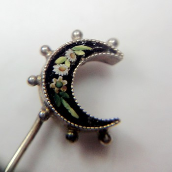 Silver Micro Mosaic cresent flower Moon hatpin/stick pin - Fine Jewelry