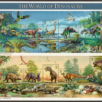 1997 - World of Dinosaurs - Mint Pane - Stamps