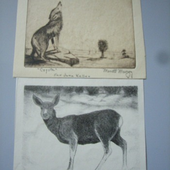 Merritt Mauzey lithographs and 2 originals - Posters and Prints