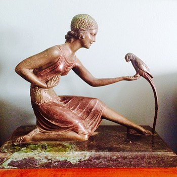 Art Nouveau Bronze Lady Feeding Bird Statue Marble Base - Art Deco