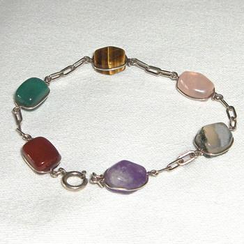 Multi Stone Link Vintage Silver Bracelet - Costume Jewelry