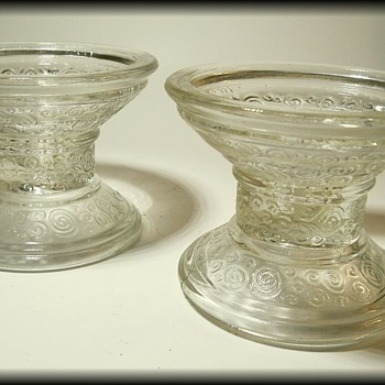 UNKNOWN PRESSED GLASS -  Candle Holders
