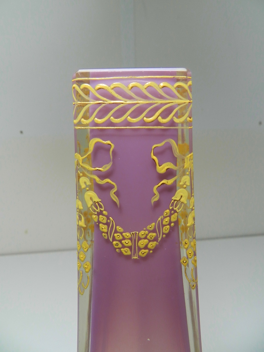 Attractive Josef Riedel Cased Glass Vase Bohemian