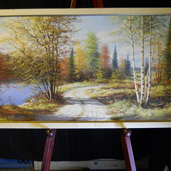 "2 of 3-Muskoka Autumn landscape,Oil on Board""E.Jalava""Circa 1960-70 - Visual Art"