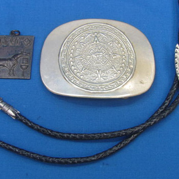 "Vintage Bolo Tie - Mayan? Belt Buckle - Metal Pendant - Silvertone - Buckle is 3 1/4"" long"