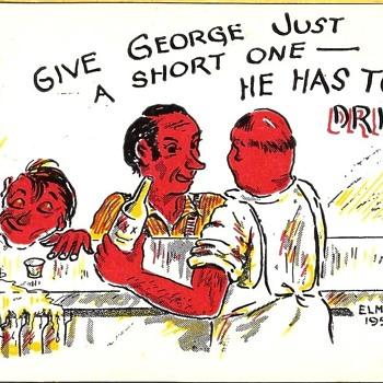 Vintage Postcard--Comic type. DRUNK AT BAR! 1951 - Postcards