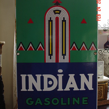 1941 Indian Gasoline Pump Plate Porcelain Sign...Six Colors - Signs
