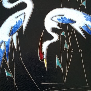 Ruscha Fat Lava Glazed Red Crowned Cranes Charger Thrift Shop Find 2 Bucks - Mid-Century Modern