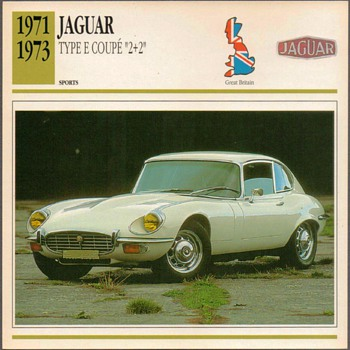 Vintage Car Card - Jaguar Type E Coupe - Classic Cars