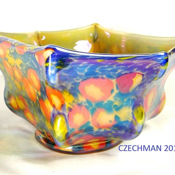 KRALIK ART DECO GLASS &quot;KNUCKLE&quot; BOWL CANE / MILLEFIORI DECOR IRIS FLASH FINISH - Art Glass