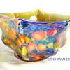 "KRALIK ART DECO GLASS ""KNUCKLE"" BOWL CANE / MILLEFIORI DECOR IRIS FLASH FINISH"