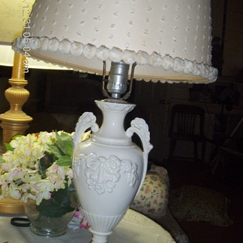 Vintage porcelain lamp with polka dot shade  24x13 - Lamps
