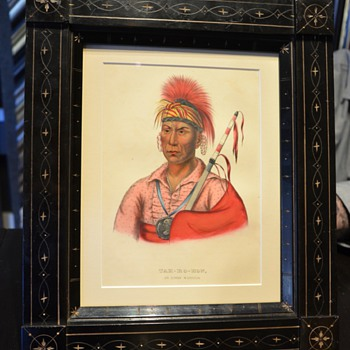 NATIVE AMERICANS, McKENNEY & HALL, 1855, TAH-RO-HON AN IOWAY WARRIOR - Posters and Prints