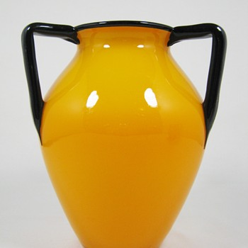 """Loetz Tango Mandarin yellow ca. 1920 6 3/4"""" - Art Glass"""