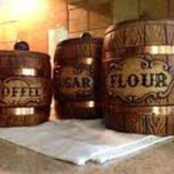 Vintage Barrel Canisters  - Kitchen