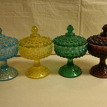 STUNNING SET OF FENTON OPALESCENT HOBNAIL COVERED COMPORTS/CANDIES