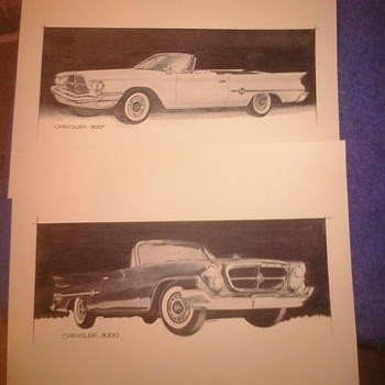 Chrysler promotional sketches...Unsure of history - Advertising