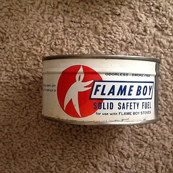 Flame boy stove fuel cans - Advertising
