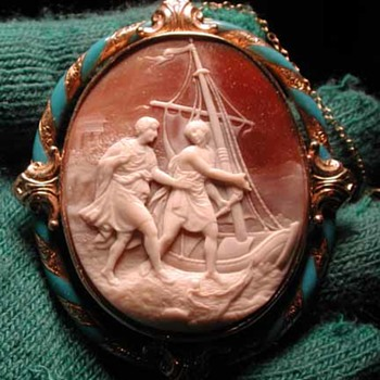 Wonderful enamelled cameo of fishing men with boat