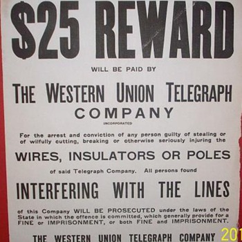 Western Union Telegraph Warning Poster