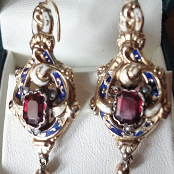 Georgian (or earlier) enameled earrings with I don't know what kind of stone ??