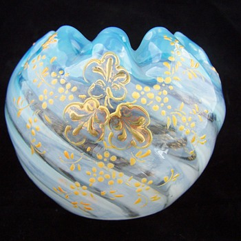 Stevens Williams? Striped Opalescent Rosebowl with Hand Painted Design - Art Glass