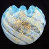 Stevens Williams? Striped Opalescent Rosebowl with Hand Painted Design