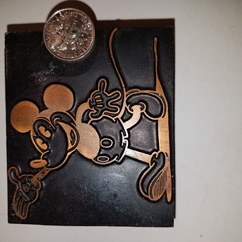 Mickey Mouse  vintage  copper  stamp press  block. Any ideas on this guy? Worth, era