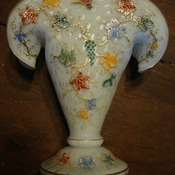 Satin Glass Enamel Fan vase... Harrach or Moser