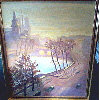 """Paris Street Scene"" Oil on Canvas Board / 25"" x 30""/ Unknown Artist and Age - Visual Art"
