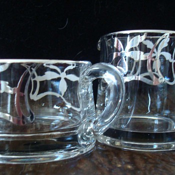 Art Deco Glass Cream and Sugar with Silver Overlay - Glassware