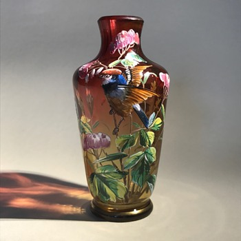 Harrach enameled bird vase