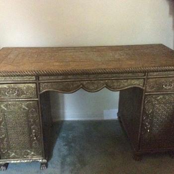 Brass desk & chair