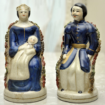 Ceramic Male Military Dress & Female with Crown & Baby-Beautiful Blue - Figurines