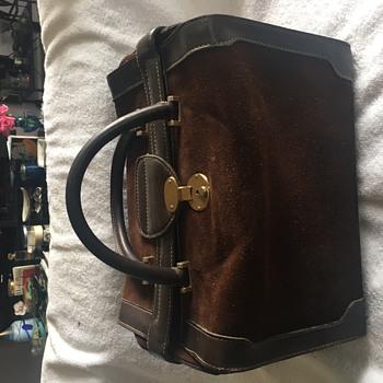 Vintage Gucci Train Case in Chocolate Suede circa 1970s - Bags