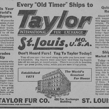 1919 - Taylor Fur Exchange Advertisement - Advertising