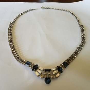 Stunningly Gorgeous Vintage LG Rhinestone Necklace & Earring Set - 1st jewelry set Dad bought Mom  - Costume Jewelry